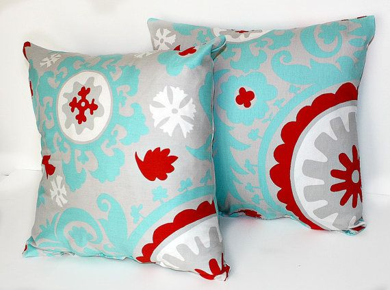 I like this color combo. 2 DECORATIVE PILLOW Covers - THROW Pillows - 18 x 18 inches - Gray Blue and Red Suzani Turquoise Harmony. $30.00, via Etsy.