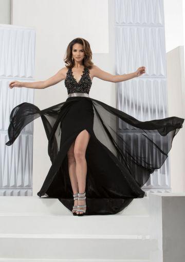 Cheap and Australia 2016 A Line Chiffon Sashes V Neck Black Split Appliques Floor Length Prom / Homecoming Dresses 5753 from Dresses4Australia.com.au