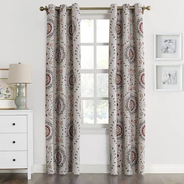 The Big One Blackout 2 Pack Lorena Medallion Window Curtain Red