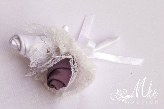 White and purple groom best man brooch with lace by MkeFlower