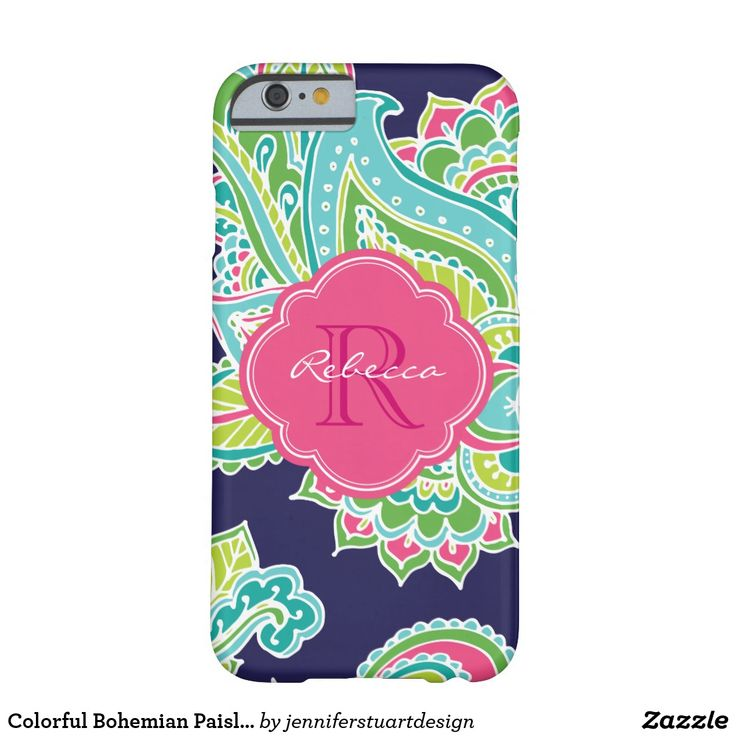 Colorful #Bohemian #Paisley Custom #Monogram Barely There #iPhoneCase. Custom design features an elegant ornate hand-drawn bohemian mehndi henna tattoo illustration with botanical floral and paisley swirls. Click the Customize It button to add your name and monogram to create your own unique one of a kind design.