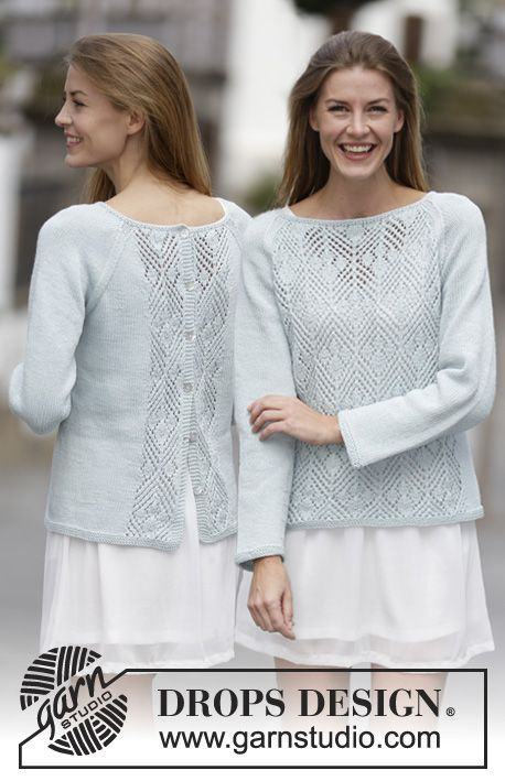 Blue Spring, free lacy back-buttoning sweater knitting pattern from Garnstudio