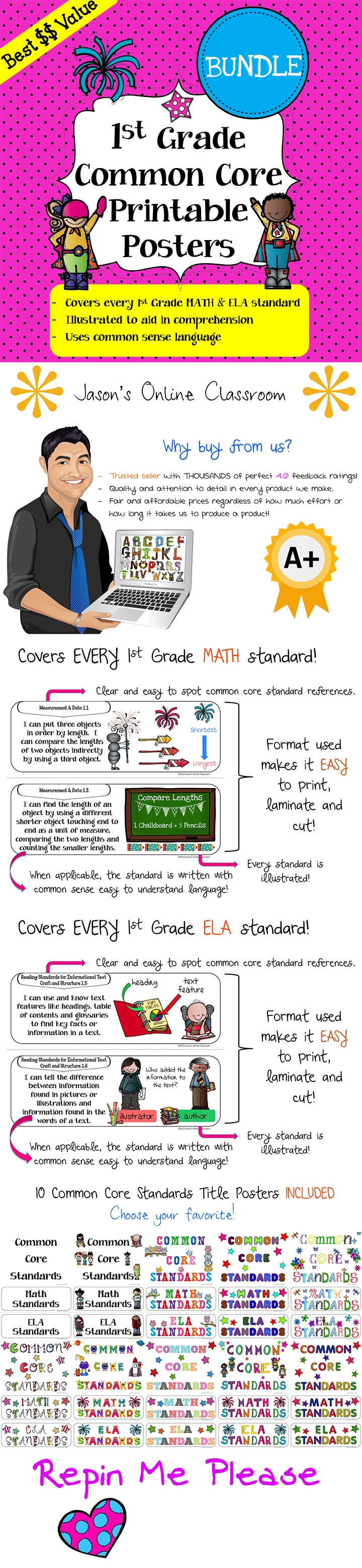 "Common Core Standards ""I Can"" Statements Math & ELA Bundle! - These posters cover every 1st GRADE Math and ELA standard with fun and creative illustrations and common sense common core language. Save a ton of time by using our pre-made posters! Buy now, print later, use forever! $12"