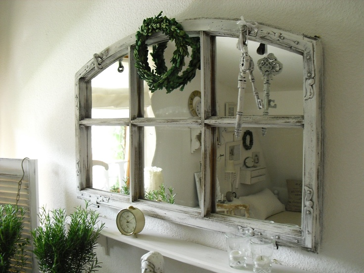 Living Room Wall Mirror Whitewashed Chippy Shabby Chic French Country Rustic Swedish Decor Idea