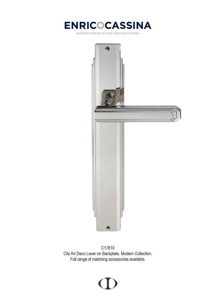 city art deco, stepped, lever on back plate, polished nickel, polished chrome, modern, door handle, design, Italian design