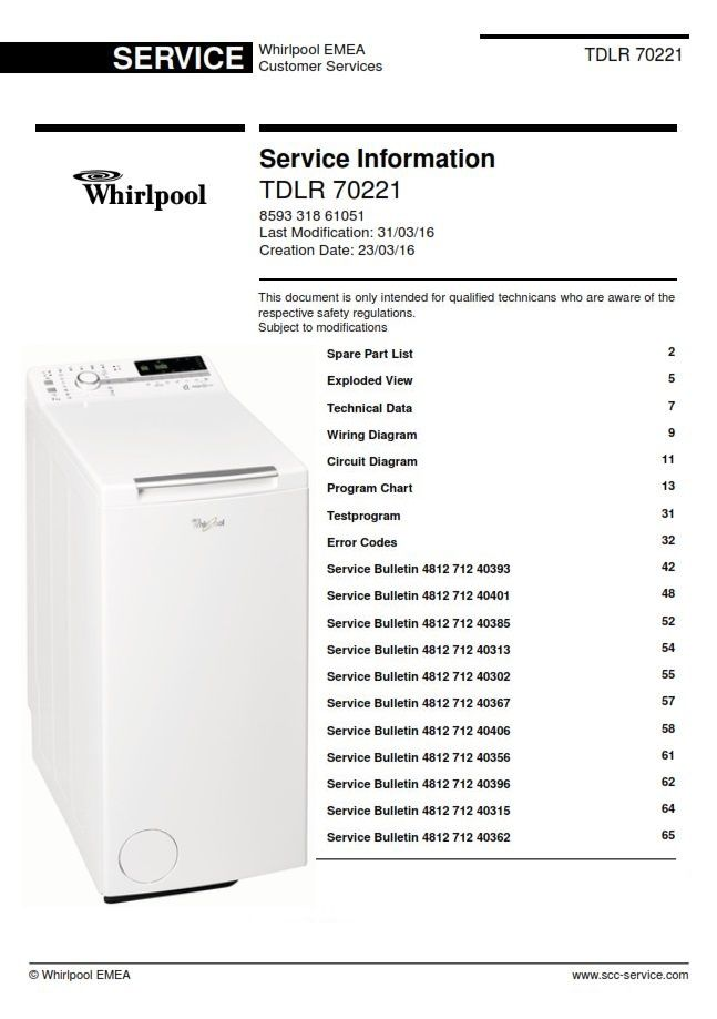Whirlpool Tdlr 70221 Washing Machine Service Manual Update Bulletins Washing Machine Service Whirlpool Maintenance Jobs