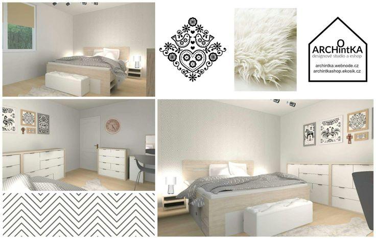 ložnice v severském stylu s folklórními prvky