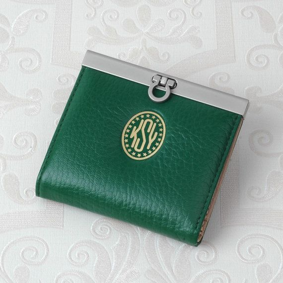 French Style Bi-fold Purse in GREEN : Cow leather purse with your Monogram for FREE