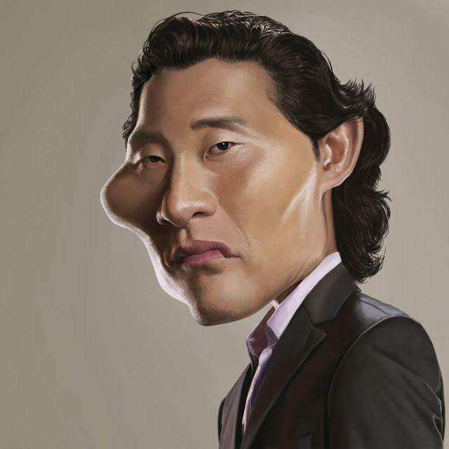 """El actor de cine y televisión Daniel Dae Kim, conocido por la serie """"Lost"""" caricaturizado..."""