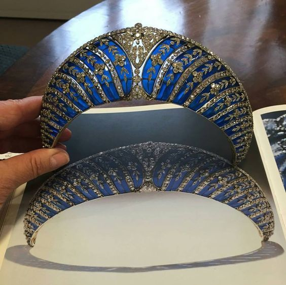 A couple more of Chaumet's beautiful blue enamel and diamond tiara, formerly…