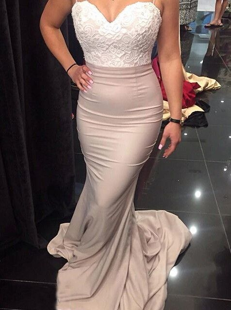 Sexy Spaghetti Long Bridesmaid Dresses With White Lace, Mermaid Bridesmaid Dresses, Bridesmaid dress 2016, Wedding Party Dresses, Wedding Guest Dress, Prom Dresses