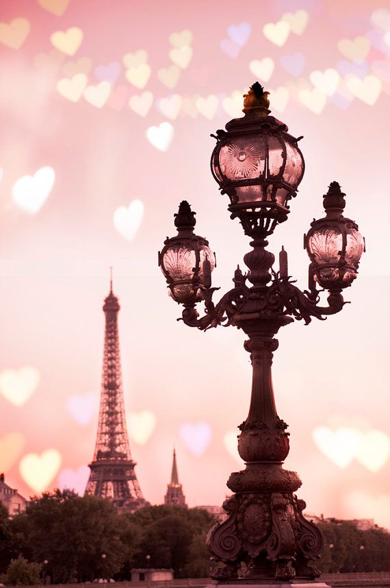Paris Photography - A Paris Valentine - Hearts Across the Eiffel Tower, Romantic French Travel Wall Decor