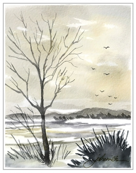 """Winter Sky After Cibere"" - Digital Watercolours, in Snowy Landscapes"