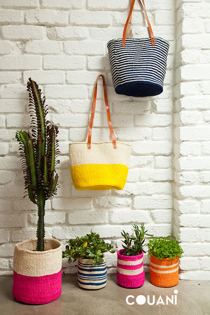 COUANI catalogue 2014 // hand woven market bag in SAFI yellow and NALA navy featured with the super stylish pot plant covers //