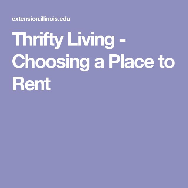 Thrifty Living - Choosing a Place to Rent