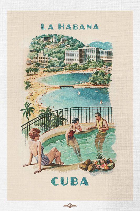 Vintage La Habana Cuba Resort Travel Poster by BuchananPaperArt