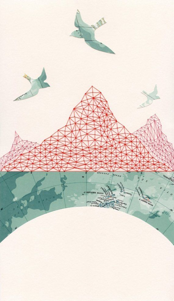 maps. ARCHIVAL PRINT 'Passage' / map collage cartography travel birds mountains pattern embroidery geometry red thread