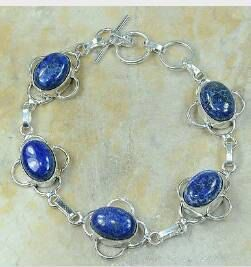 Lapis Lazulli in 925 Silver Bracelet by AngelicEnchantments, $18.00
