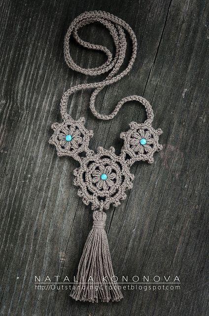 Ravelry: Konatka's Linen Boho Style Natural Necklace