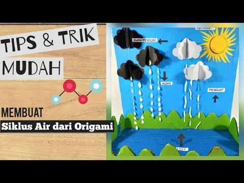 Cara Membuat Media Pembelajaran Tentang Siklus Air Kertas Origami Water Cycle Youtube Siklus Air Origami Kreatif