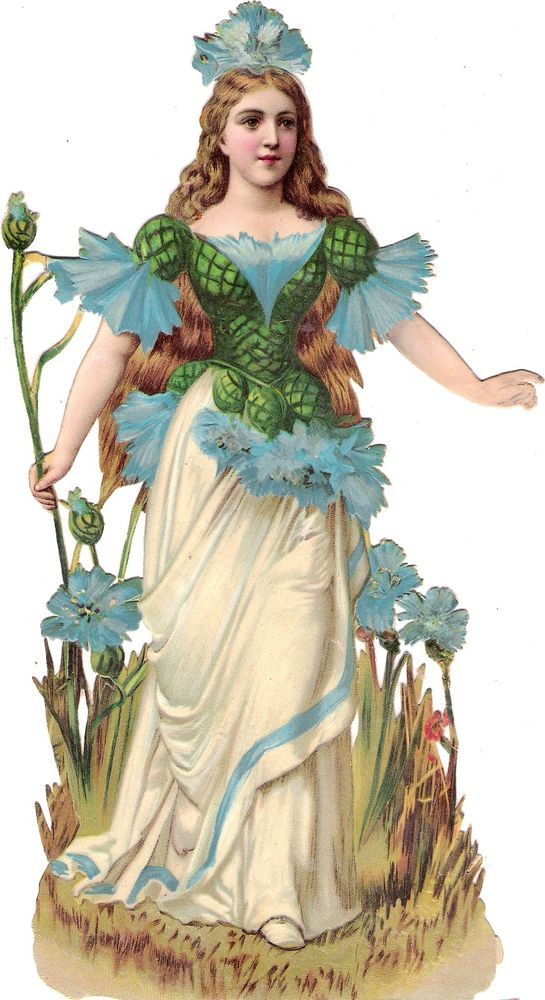 Oblaten Glanzbild scrap die cut chromo Korn Blume XL 26cm flower child Fee Elfe