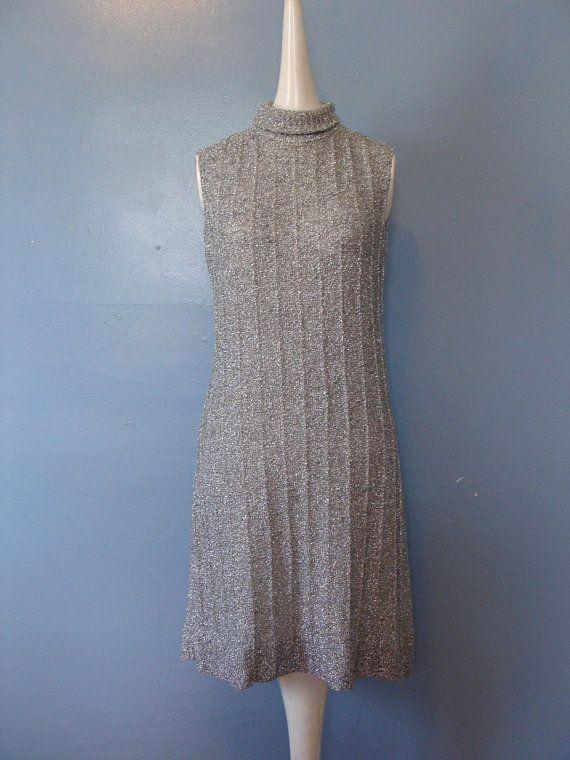 Vintage 1960s Stretch Knit Silver Metallic Dress Gown