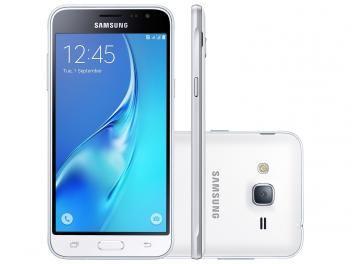"Smartphone Samsung Galaxy J3 2016 8GB Branco - Dual Chip 4G Câm. 8MP + Selfie 5MP Tela 5"" HD"