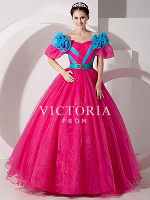 Princess Floor Length Organza Off The Shoulder Short Sleeve Prom Dress - US$ 163.99 - Style P0493 - Victoria Prom