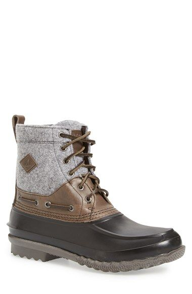 Free shipping and returns on Sperry 'Decoy' Waterproof Boot (Men) at Nordstrom.com. Walk wet terrain carefree in this weather-resistant duck boot that helps keep feet dry as you splash through puddles. A quilted wool shaft and a microfleece lining add rainy-day warmth and comfort that will take you into the winter months with ease, while a lugged sole provides superior traction.