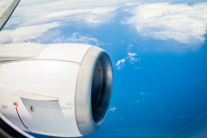 B737 engine in flight over water by MDVPresets on @creativemarket