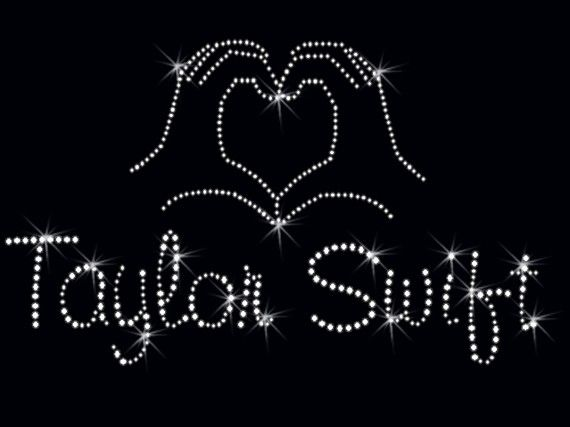 Taylor Swift HEART/HAND Rhinestone iron on transfer DIY Bling Sparkles via Etsy
