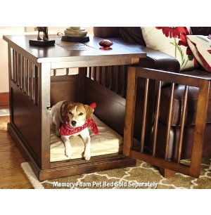 If You Crate Your Dog, Finally A Beautiful And Comfortable Solution! Dark  Chocolate Finish