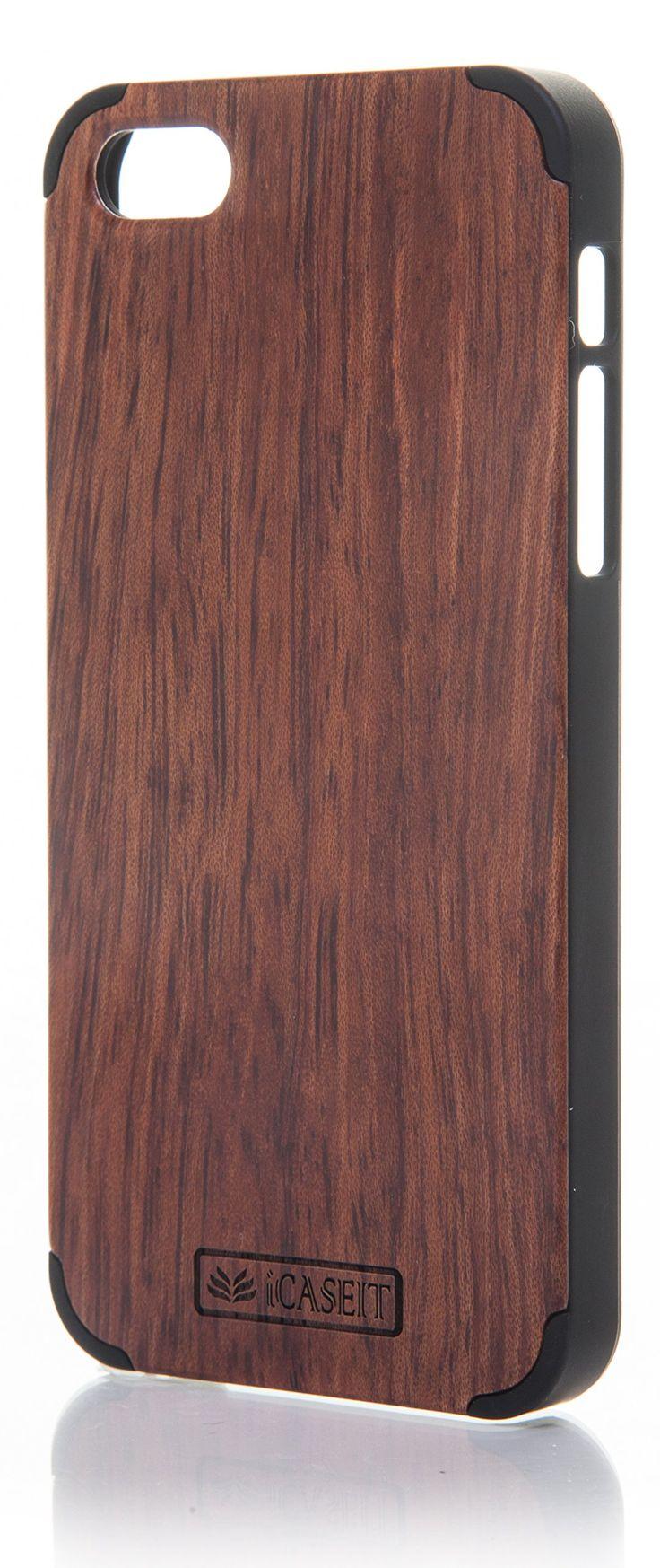 iCASEIT Wood iPhone Case - Genuinely Natural, Unique & Premium quality for iPhone 5 / 5S - Rosewood / Black