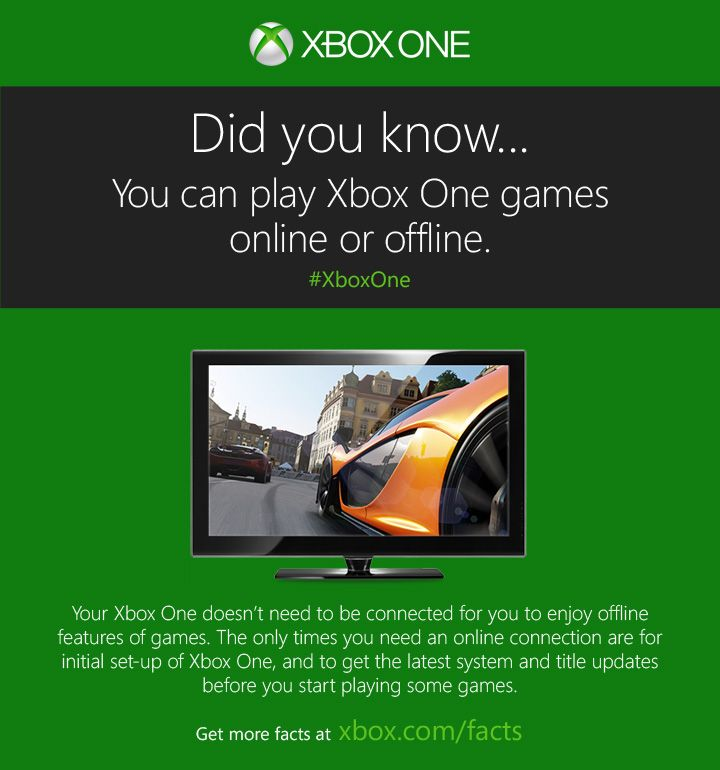 No internet connection? No worries.  http://www.xbox.com/xbox-one/get-the-facts