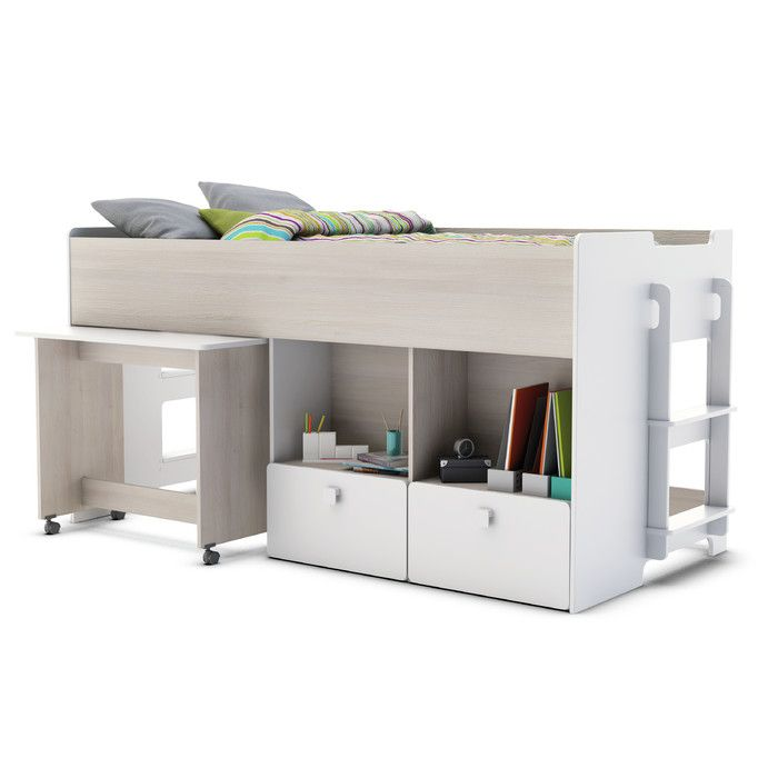 Home Etc European Single Mid Sleeper Bed with Storage & Reviews | Wayfair UK