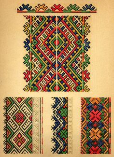 ukrainian folk embroidery: Ukrainian Folk Embroidery, I. F. Krasyts'ka, 1960, plate 11, embroidery from women's chemises, plate 12 & 13, embroideries from mens' shirts