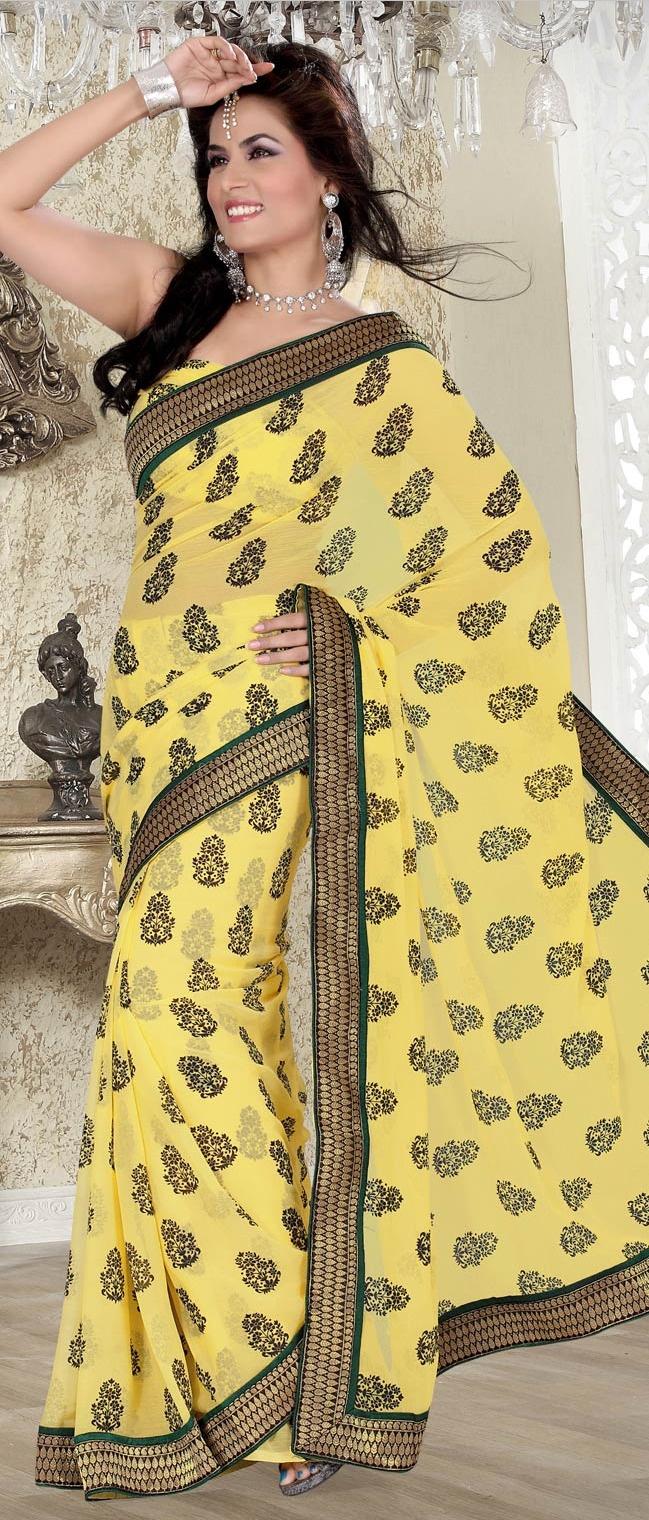 #Yellow Faux #Chiffon #Saree with Blouse @ $43.52