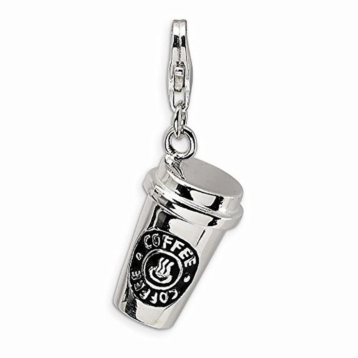 Coffee cup Tea Mug lobster clip on Charms silver word charms for floating necklace bracelet