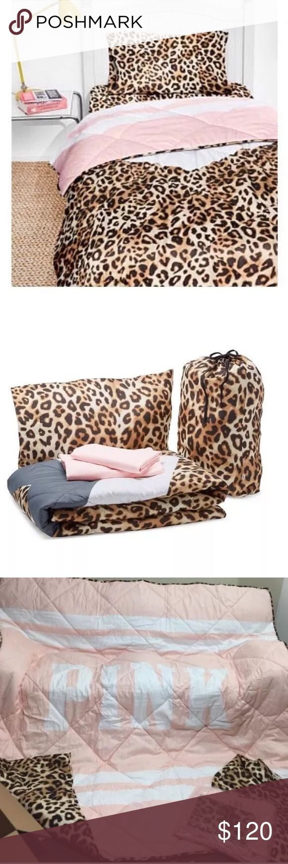 New VS Pink Bed In A Bag Leopard Twin/Twin XL Victoria's Secret Pink Bed in Bag Cheetah leopard print. Fits Twin and Twin XL (perfect for dorm beds!!!) Brand new. No trades! Feel free to make an offer! PINK Victoria's Secret Other