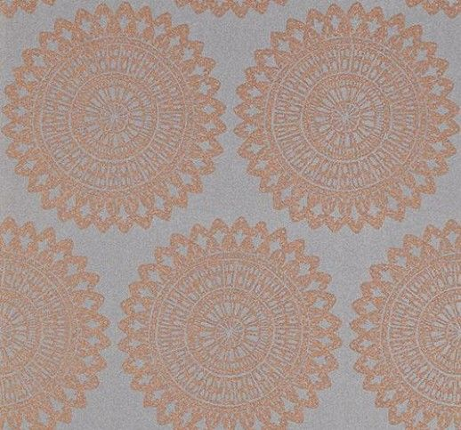 Medina Titanium (110628) - Harlequin Wallpapers - A large lacy roundel motif on a lustrous background, enhanced with glittery metallic, a subtle but powerful effect. Shown in the Titanium colourway, copper on grey, please request sample for true colour. Paste the wall product. Wide width.