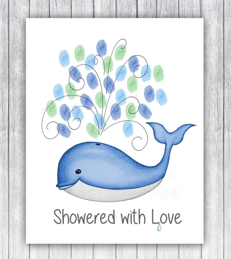 A personal favorite from my Etsy shop https://www.etsy.com/listing/400997837/whale-baby-shower-guest-book-thumbprints