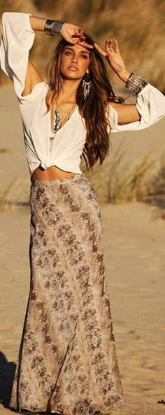 Sexy boho chic long maxi skirt for a modern gypsy style. FOLLOW http://www.pinterest.com/happygolicky/the-best-boho-chic-fashion-bohemian-jewelry-gypsy-/ for the BEST Bohemian fashion trends in clothing & jewelry.