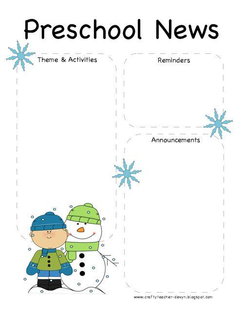 Winter Theme Ideas for Preschoolers | Preschool winter newsletter template! Enjoy!