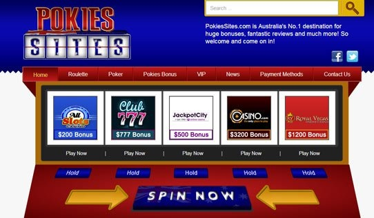 Designed with the avid poker player in mind, Pokies Sites utilizes the bold, regal colours associated with the casino world. The layout of the site is designed exclusively as a slot machine whereby the user can 'Spin Now' for a range of top poker sites and accompanying signup bonuses. Players can choose to visit and play at a poker site, read the latest poker news available or compare numerous poker and roulette sites on offer according to their bonuses.