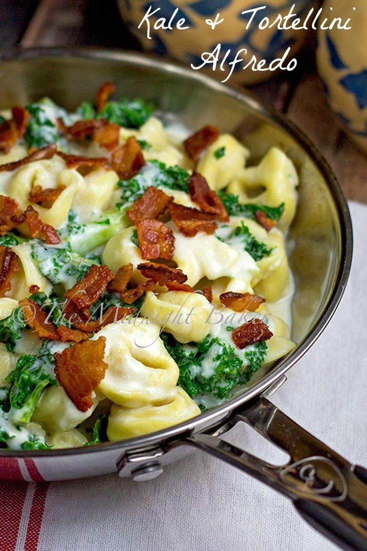 { kale & tortellini alfredo } *make with greek yogurt alfredo recipe