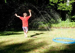 Noodle Sprinkler: This homemade sprinkler was a huge hit for my family - a perfect way for them to cool down in our recent heat wave.