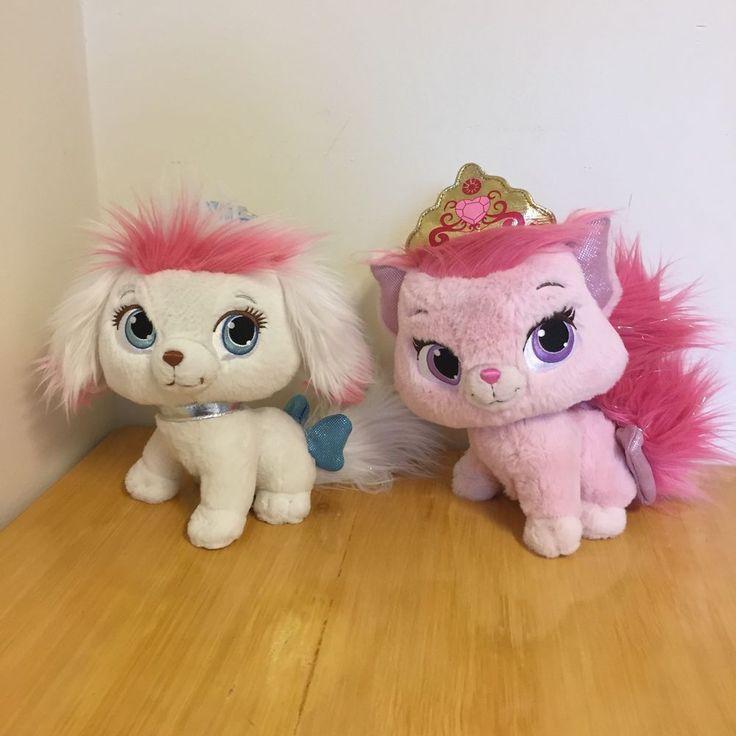 2 Palace Pets Plush Cinderellas Pumpkin White Puppy & Auroras BEAUTY Kitty Pink #Disney