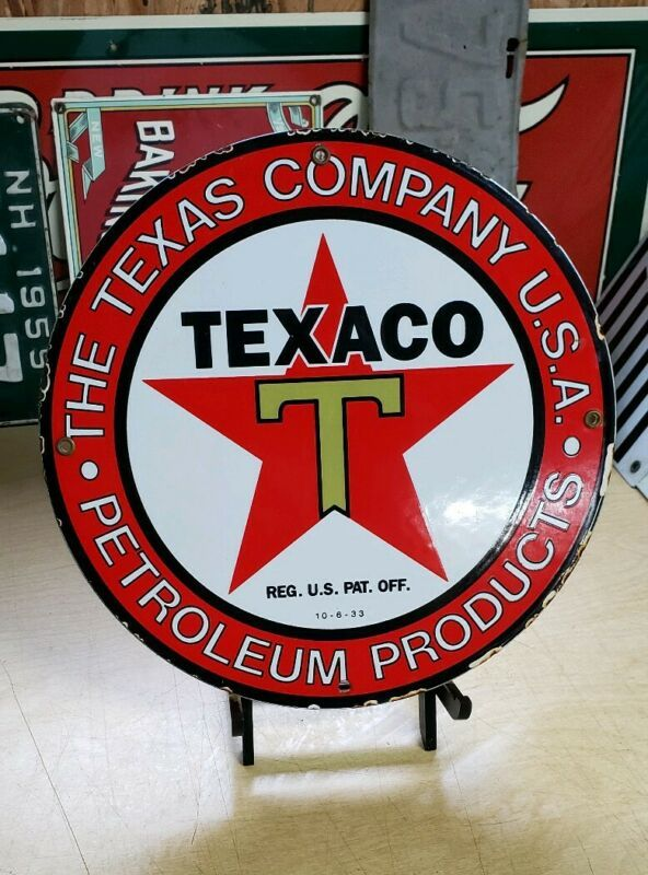 TEXACO PETROLEUM PORCELAIN SIGN