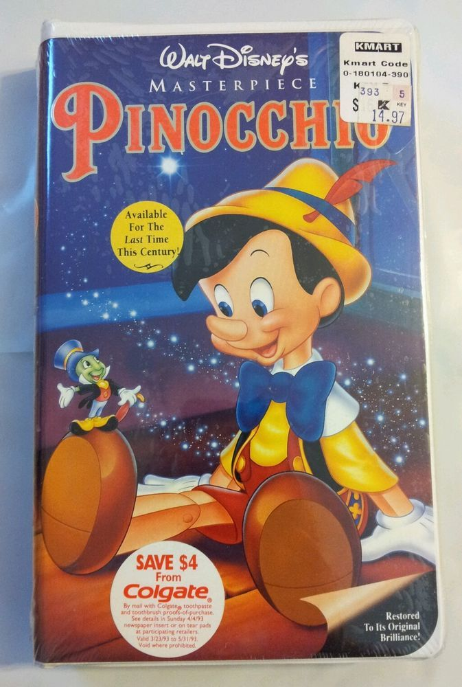 Pinocchio (VHS, 1993) | Disney, Pinocchio and Walt disney