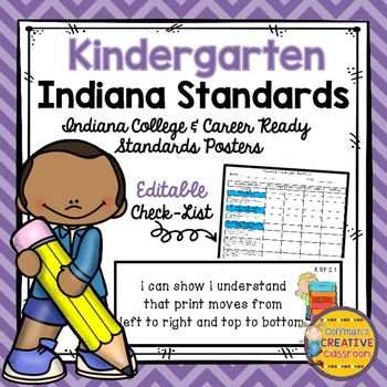 Indiana College and Career Ready Standards-Kindergarten with Editable Standards Checklist- Updated 2016 Science…